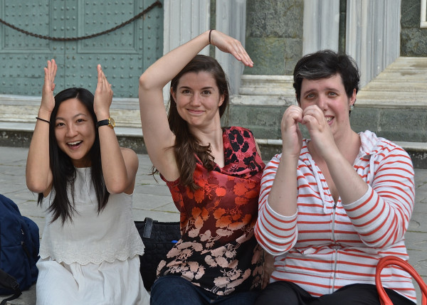 "Voxtet members Mindy Chu, Molly Netter, and Sara Couden spell ""ISM"""